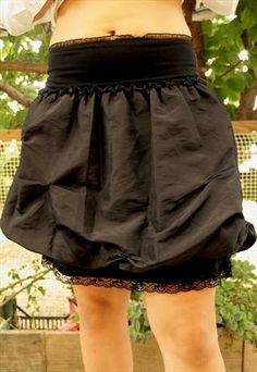 Chrisper Baloon Black Mini  Skirt