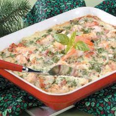 Angel Hair Shrimp Bake recipe from Taste of Home. 1 cup equals 220 calories, 8 g… Shrimp Dishes, Shrimp Recipes, Pasta Dishes, Fish Recipes, Great Recipes, Dinner Recipes, Favorite Recipes, Recipies, Shrimp Bake