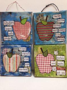 5x5 mixed media Teacher Canvas Apple by heartfeltByRobin on Etsy, $12.00 Teacher Canvas, Arts Ed, Copic, Mixed Media Art, Teaching Kids, Teacher Gifts, Arts And Crafts, Doodles, Apple
