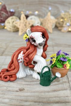 She is a wee size pony and e very single detail was made by hand what makes her one of a kind. In Portuguese, we call it Amor Perfeito. It would be Perfect Love in English if we made the direct translation. Cute Polymer Clay, Cute Clay, Polymer Clay Crafts, Polymer Clay Sculptures, Polymer Clay Creations, Walking Horse, Cute Ponies, Art Of Love, Buddha Art