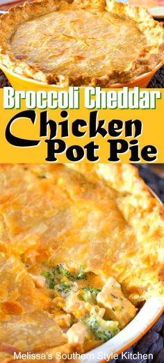 Steamed broccoli and cheddar cheese go together like peas and carrots. They pair beautifully in the filling of this cheesy Broccoli Cheddar Chicken Pot Pie. Easy Chicken Recipes, Turkey Recipes, Crockpot Recipes, Cooking Recipes, Uk Recipes, Southern Recipes, Cooking Ideas, Meat Recipes, Salad Recipes