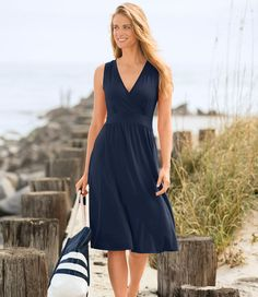 I have always love LLBean's knit sun dresses.  Always look good and easy to wear.