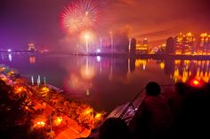 Fireworks explode in the sky to celebrate the Lantern Festival on February 6, 2012 in Huizhou, Guangdong Province, China.