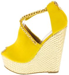 GOLD COUTURE YELLOW PYTHON CHAIN WEDGE