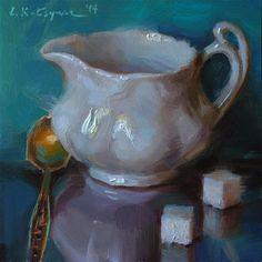 """Daily Paintworks - """"White on Turquoise"""" - Original Fine Art for Sale - © Elena Katsyura"""