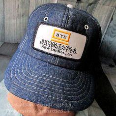 Vintage Beyer Tank   Equipment Co Denim Snapback Trucker Hat Cap Louisiana  BTE aa9dbec66f56