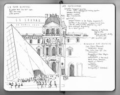 sketch of the Louvre, Paris, by Naomi Leeman