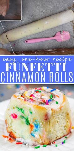 This recipe for funfetti cinnamon rolls is packed with sprinkles, and is the perfect cinnamon roll flavor for a fun brunch with friends and family! Best Cinnamon Rolls, Cinnamon Bread, Easy Desserts, Dessert Recipes, No Bake Treats, How Sweet Eats, Baking Recipes, Sprinkles, Friends