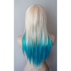 Blonde, Teal, Turquoise Ombre wig. Medium layered straight hair long side bangs wig for daily use or cosplay.