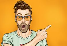Illustrations Discover Amazed fashionable guy in glasses with open mouth stares aside shows something strange and unexpected. - Buy this stock illustration and explore similar illustrations at Adobe Stock Pop Art Drawing, Beard Art, Pop Art Wallpaper, Pop Art Illustration, Jolie Photo, Illustrations And Posters, Female Art, Vector Art, Comic Art