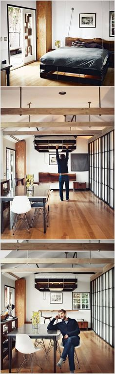 10 Ingenious Ideas for Small Space Interiors: Retractable Bed That Lets You Use the Space It Occupies During the Day - A Interior Design Small Room Bedroom, Small Rooms, Bedroom Sets, Small Apartments, Home Decor Bedroom, Small Spaces, Small Space Interior Design, Small Room Design, Home Interior Design
