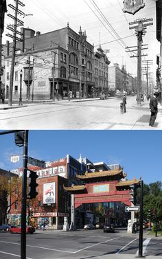 The entrance to Chinatown at St. Laurent Boulevard and Viger Street in the early century. The addition of the Chinese style portal in the early century. Old Montreal, Montreal Ville, Montreal Canada, Saint Laurent, Photo Vintage, Good Old Times, Urban Landscape, Construction, Far Away