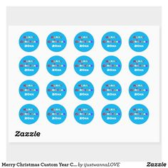 Merry Christmas Custom Year Cute Modern Classic Round Sticker