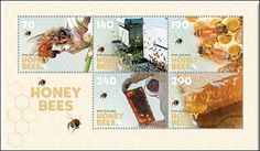 New stamps from New Zealand Post featuring honey bees.