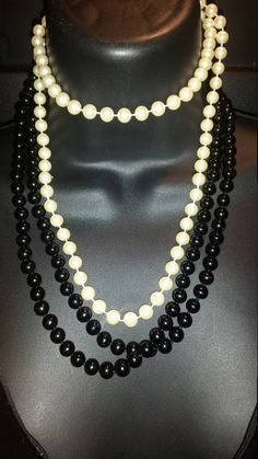 2 Vintage Lux Pearl necklaces, Black glass 46 in long, White nylon 35 in long to make a beautiful variable look. by GiuseppinaStudio on Etsy