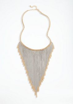 bebe Mixed Metal Chain Fringe Necklace