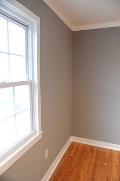 Newsflash: Blogger paints room grey - Adventures in Renovating a Brooklyn Limestone; Glidden Granite Gray. Nice! go to gray colors