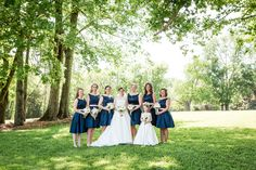 Elegant yet preppy navy blue bridesmaid dresses with pink sash. Adding a sash is the perfect way to add a bit of flair to your bridesmaid dress. Navy Blue Bridesmaid Dresses, Navy Dress, Pink Dress, Wedding Gallery, Wedding Photos, Alternative Wedding, Perfect Wedding, Preppy, Elegant