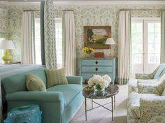 aqua and lime bedroom by designer Phoebe Howard