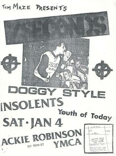 7 Seconds @ Jackie Robinson YMCA, San Diego January 1986 w/ Doggy Style,Insolents and Youth Of Today Scream, Punk Poster, Youth Of Today, 7 Seconds, Jackie Robinson, Flyers, Presents, January 4, Posters