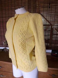 Vintage 60s Sunny Yellow Popcorn Knit Cardigan M L by Calliopegirl, $30.00