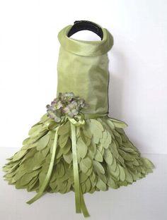 green petals designer dog dress