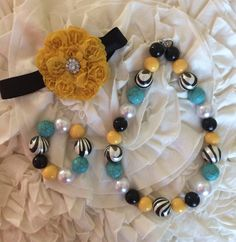 Zebra yellow pearl black and teal bubblegum by sewchicandvintage