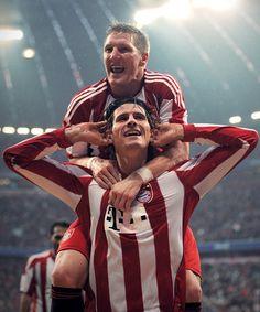 Bastian Schweinsteiger and Mario Gomez  Go Bayern! in a few days  Go Germany! in a few weeks