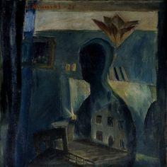 Väinö Kunnas - Blue Atelier (1925) - Oil on canvas. It exhibits at Helsinki Noir at Amos Anderson Art Museum Finland. #art #modernart