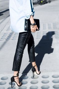 lace up leather pant