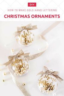 How to make gold hand lettering christmas ornaments