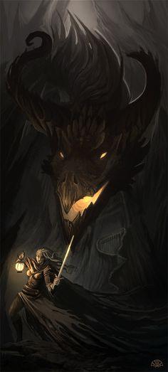 Black Dragon. Warrior. Fantasy Art.