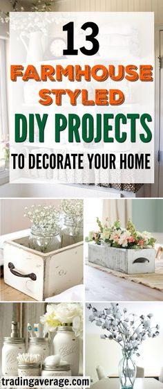 These Farmhouse Decor projects are amazing! This article gives 13 DIY Projects to decorate your home in Farmhouse style. Definitely pinning!