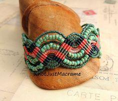 Matubo beads in Micro #Macrame #bracelet by Sherri Stokey