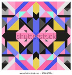 Trendy geometric kaleidoscope elements memphis greeting cards design. Retro style texture, pattern and elements. Modern abstract design poster and cover template