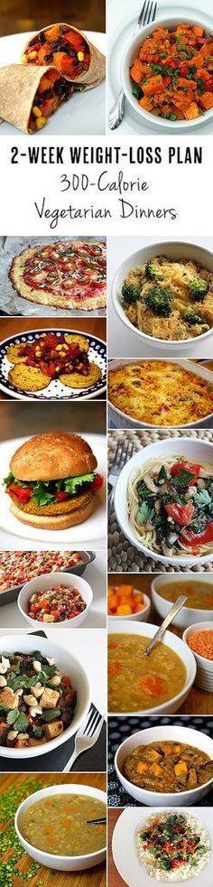 2-Week Weight-Loss Plan: Vegetarian Dinners Under 300 Calories