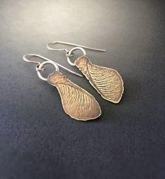 Copper sterling silver delicate vein Earrings by vaasvara on Etsy