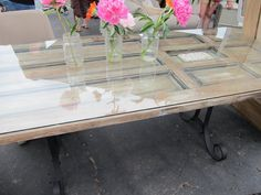 dining room table made from old door | This was cool too...rusted wrought iron fencing with no apparant ...
