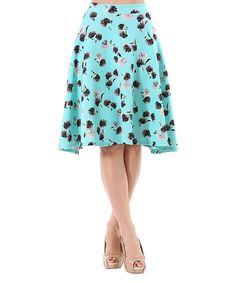 Another great find on #zulily! LARA Fashion Aqua Poppy A-Line Skirt by LARA Fashion #zulilyfinds