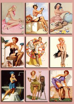 Digital Collage Sheet - Pinup Girls from the 50's - PNG and JPG files - Vintage illustrations - 2,5 x 3,5 inch - Vol.2.