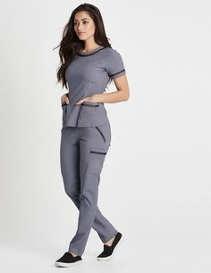 Modern Scrubs and Lab Coats for Men and Women by Jaanuu Scrubs Outfit, Scrubs Uniform, Stylish Scrubs, Medical Uniforms, Womens Scrubs, Lace Pants, Professional Wear, Medical Scrubs, Nursing Clothes