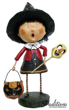 Find the best Lori Mitchell Halloween decorations at Traditions Year-Round Holiday Store! Lori Mitchell's costumed boy & girl figures are spooky yet so adorable! Halloween Doll, Holidays Halloween, Vintage Halloween, Halloween Crafts, Happy Halloween, Halloween Decorations, Halloween Witches, Paper Mache Clay, Paper Mache Sculpture