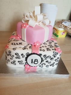 18th birthdaygirls pink and ivory cake with pretty bow