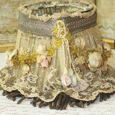 Antique Ribbonwork Lampshade w Silk Cabbage Roses Lace Bullion Trim