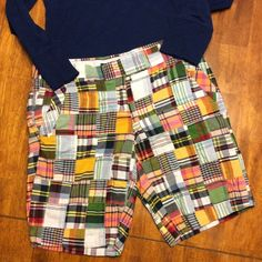 """J Crew Shorts Patchwork shorts by J Crew. Like new with no flaws. City fit 100% cotton. 16"""" across waist. Inseam 10"""". J. Crew Shorts Bermudas"""