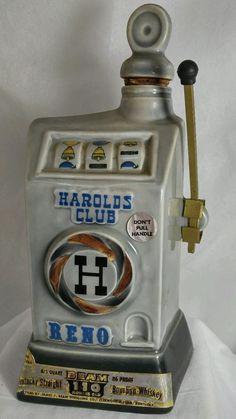 1968 Jim Beam Decorative Whiskey Decanter Harolds Club Nevada Slot Machine #JimBeam