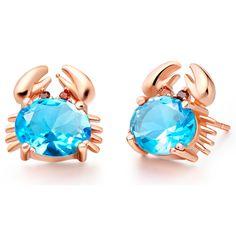 Elegant Zircon 925 Sterling Silver Wedding Jewelry Crab Shape Stud Earrings For Women Free Shipping&Gift Bag SCR695 #Affiliate