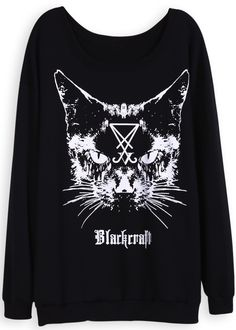 Black Long Sleeve Cat Face Print Loose Sweatshirt US$31.15