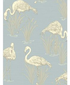 Lagoon Flamingo Wallpaper - Soft Blue - Arthouse 252605