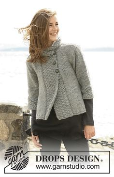 """Silver Haze - DROPS jacket in """"Eskimo"""", """"Andes"""" or """"Nepal"""" with A-shape and ¾-long or long sleeves. Size S to XXXL - Free pattern by DROPS Design Sweater Knitting Patterns, Knit Patterns, Free Knitting, Baby Knitting, Knitting Sweaters, Drops Patterns, Drops Design, Jacket Pattern, Knit Jacket"""